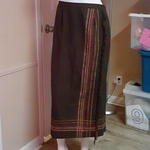 Requirements Brown Maxi Skirt With Fringe